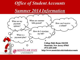 Office  of Student  Accounts Summer 2014 Information