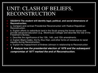 UNIT: CLASH OF BELIEFS, RECONSTRUCTION