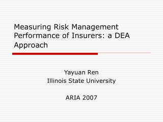 Measuring Risk Management Performance of Insurers: a DEA Approach