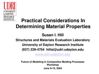 Practical Considerations In Determining Material Properties