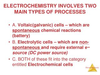 ELECTROCHEMISTRY INVOLVES TWO MAIN TYPES OF PROCESSES