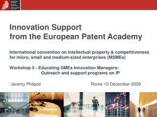 Innovation Support from the European Patent Academy
