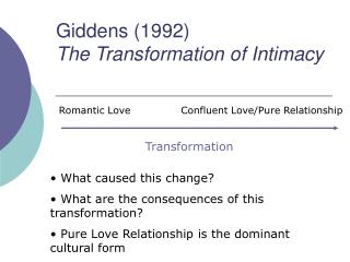 Giddens (1992) The Transformation of Intimacy