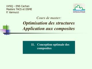 Cours de master: Optimisation des structures  Application aux composites