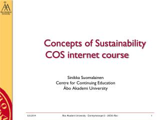 Concepts of Sustainability   COS internet course