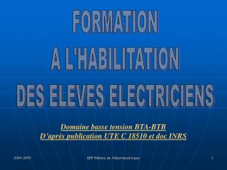 FORMATION A L'HABILITATION DES ELEVES ELECTRICIENS