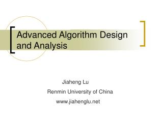 Advanced Algorithm Design and Analysis