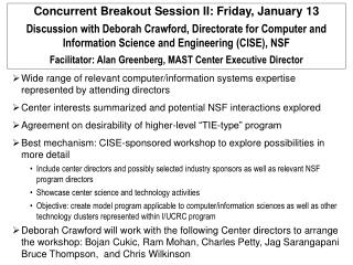 Concurrent Breakout Session II: Friday, January 13