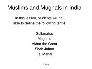 Muslims and Mughals in India