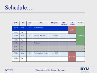 Schedule…