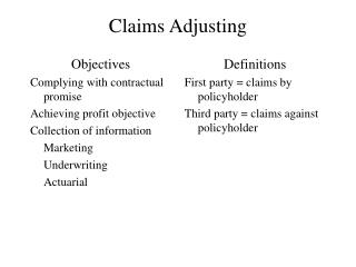 Claims Adjusting