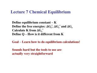 Lecture 7 Chemical Equilibrium