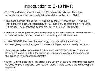 Introduction to C-13 NMR
