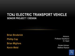 TCNJ Electric Transport Vehicle Senior Project 1 Design