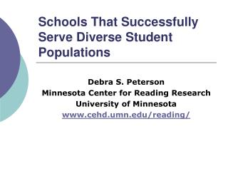 Schools That Successfully Serve Diverse Student Populations