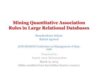 Mining Quantitative Association Rules in Large Relational Databases
