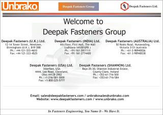 Deepak Fasteners Group Welcome to Deepak Fasteners Group