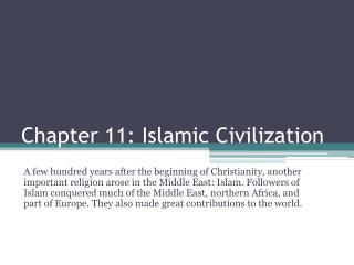 Chapter 11: Islamic Civilization