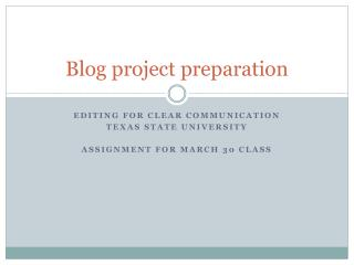 Blog project preparation