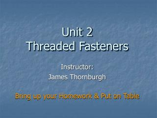 Instructor: James Thornburgh