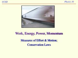 Work, Energy, Power, Momentum