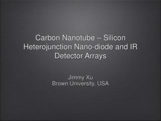 Carbon Nanotube – Silicon Heterojunction Nano-diode and IR Detector Arrays