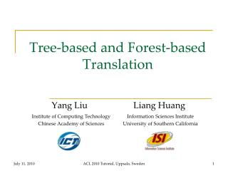 Tree-based and Forest-based Translation