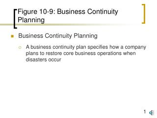 Figure 10-9: Business Continuity Planning
