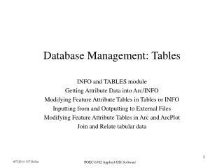 Database Management: Tables