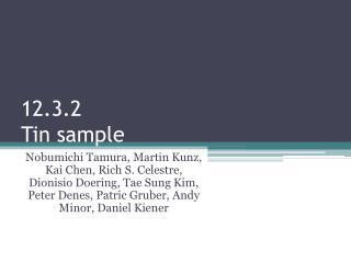 12.3.2 Tin sample