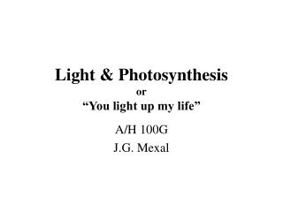 "Light & Photosynthesis or ""You light up my life"""