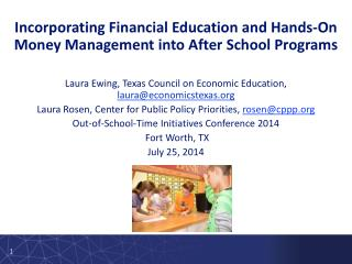 Incorporating Financial Education and Hands-On Money  Management into After  School  Programs