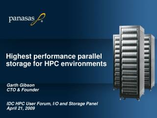 Highest performance parallel storage for HPC environments