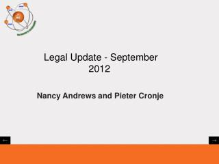 Legal Update - September 2012