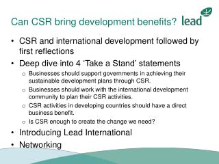 Can CSR bring development benefits?