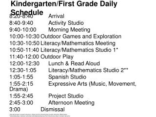 Kindergarten/ First Grade Daily  Schedule