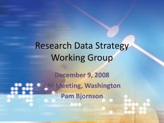 Research Data Strategy  Working Group