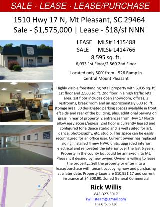 1510 Hwy 17 N, Mt Pleasant, SC 29464 Sale - $1,575,000 | Lease - $18/sf NNN