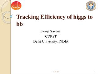 Tracking Efficiency  of  higgs  to bb