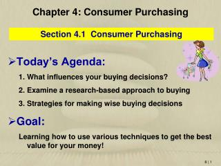 Chapter 4 : Consumer Purchasing