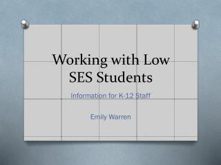 Working with Low SES Students
