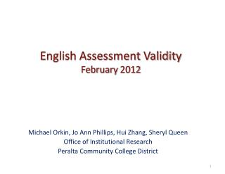 English Assessment Validity  February 2012