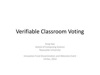 Verifiable Classroom Voting