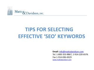 TIPS FOR SELECTING  EFFECTIVE 'SEO' KEYWORDS