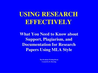 USING RESEARCH EFFECTIVELY