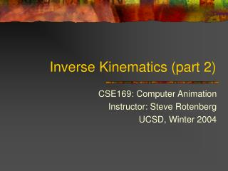 Inverse Kinematics (part 2)