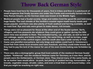 Throw Back German Style