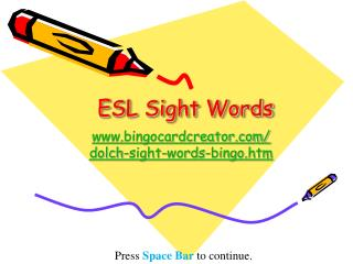 ESL Sight  Words