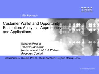 Customer Wallet and Opportunity Estimation: Analytical Approaches and Applications