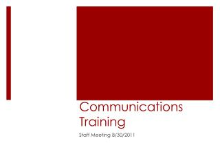 Communications Training
